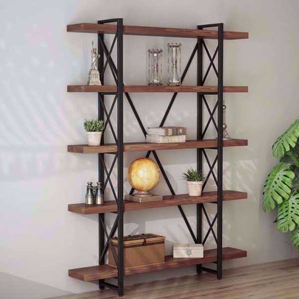 Add industrial style bookcases